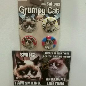 Other - Brooch pin buttons GRUMPY CAT 4ct w bonus